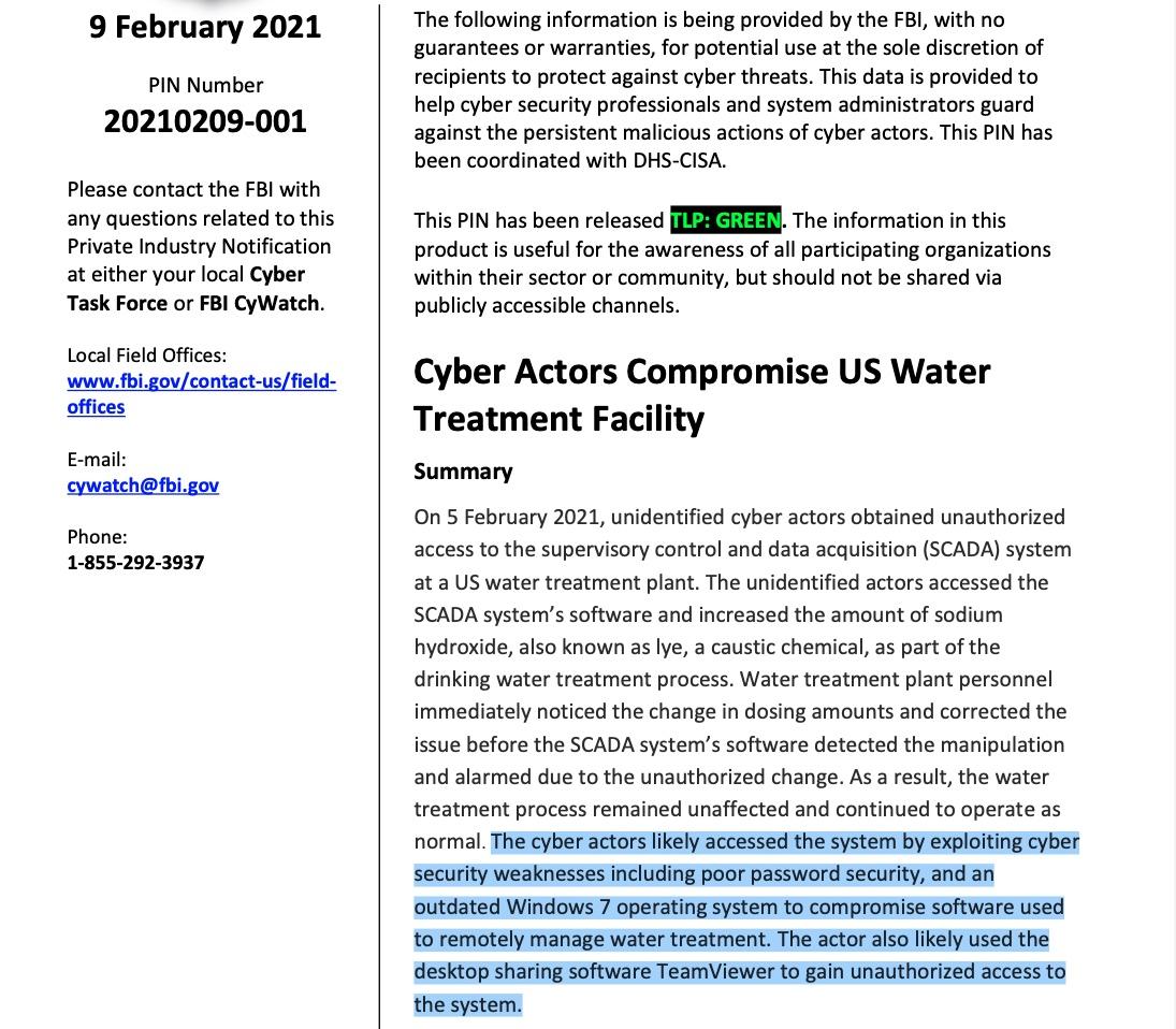 Скриншот сообщения ФБР для компаний, оказывающих услуги по водоснабжению