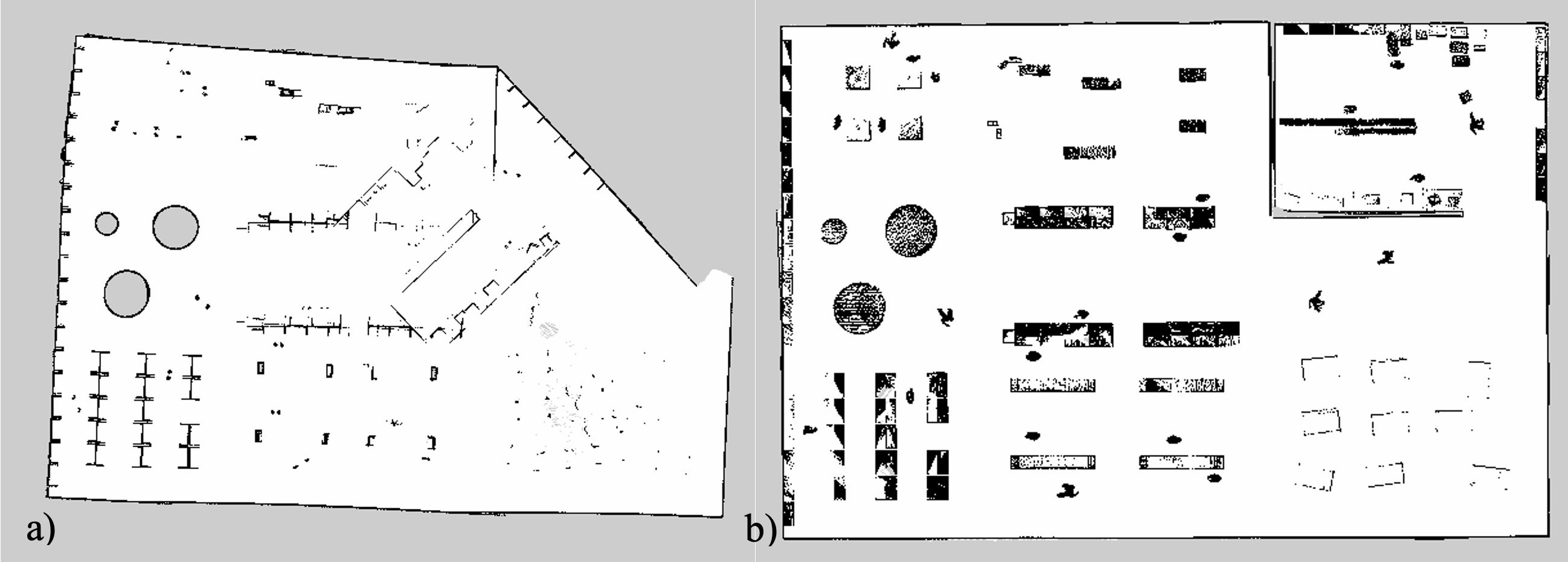 Рисунок 7 – карта симуляции построенная по лидару а) Gmapping b) Rtabmap