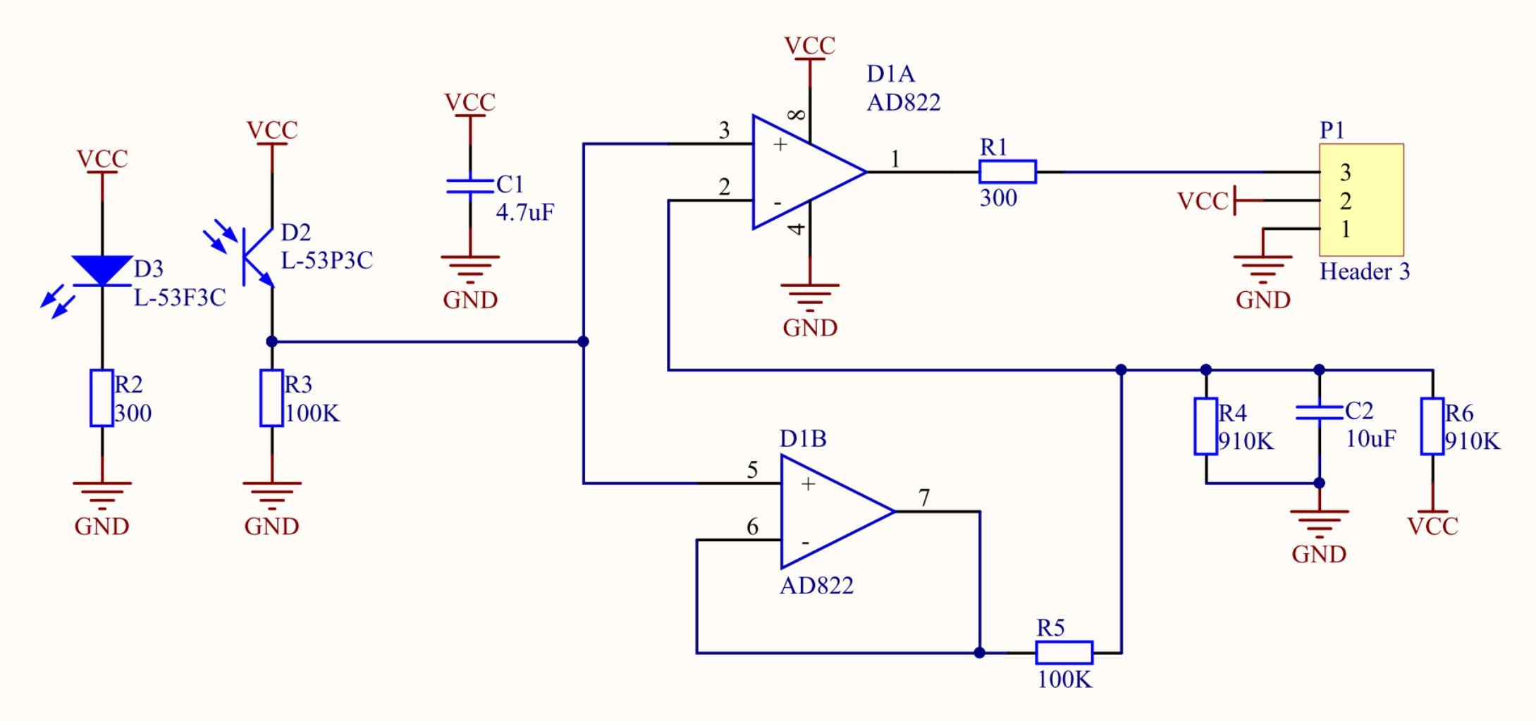 Рисунок 2. Первый прототип датчика - принципиальная схема.