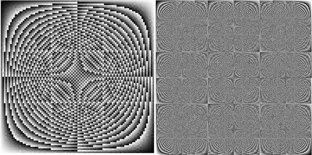 Ведические квадраты для систем счисления 100 и 1000.