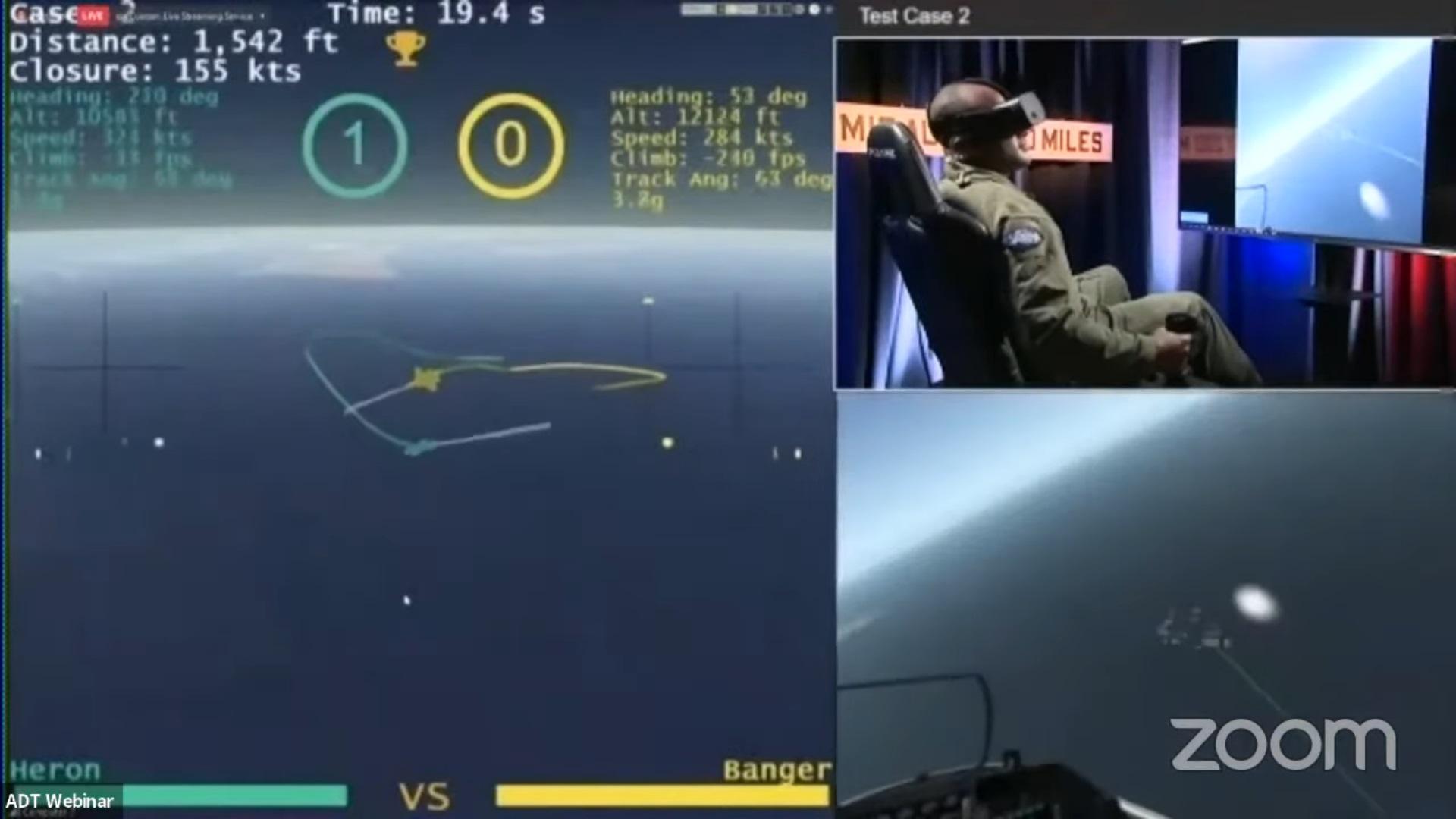 Кадр из трансляции виртуального соревнования между пилотами-людьми и ИИ в авиасимуляторе