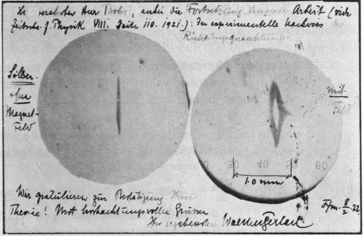 Та самая открытка Нильсу Бору от Отто Штерна и Вальтера Герлаха.