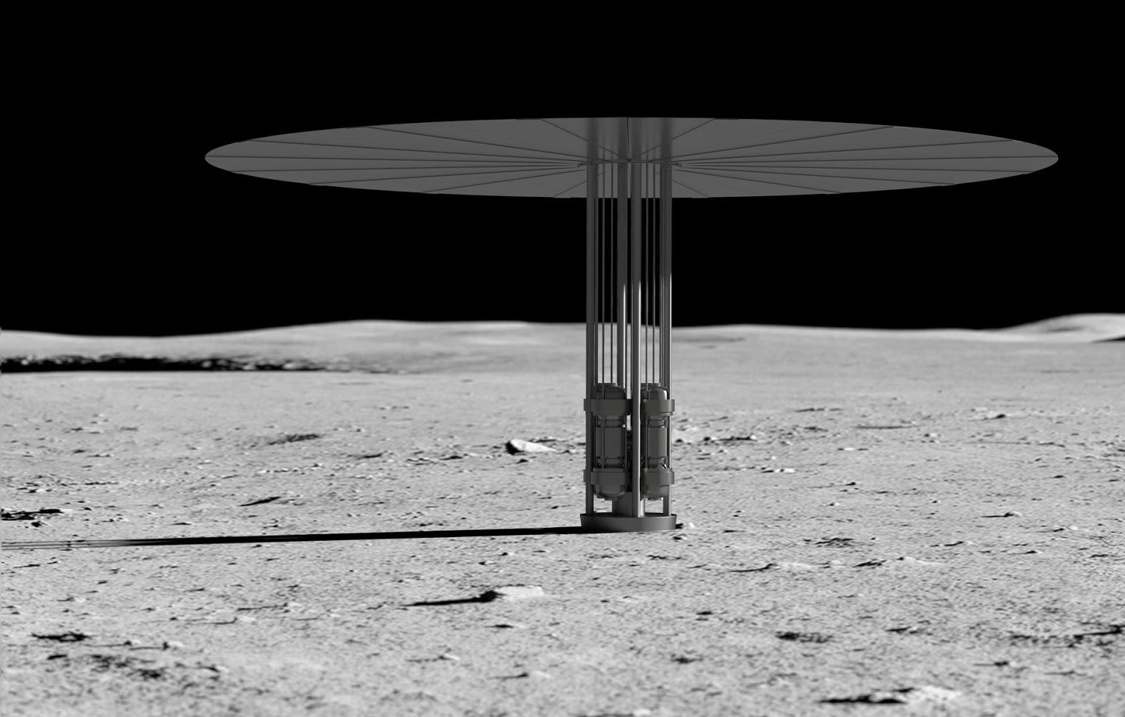 Визуализация реактора Kilopower, размещенного на Луне