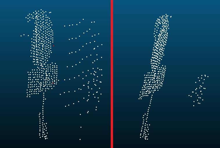 Рис 13. Применение SOR фильтрации (изображение слева - до фильтрации, изображение справа - после фильтрации).