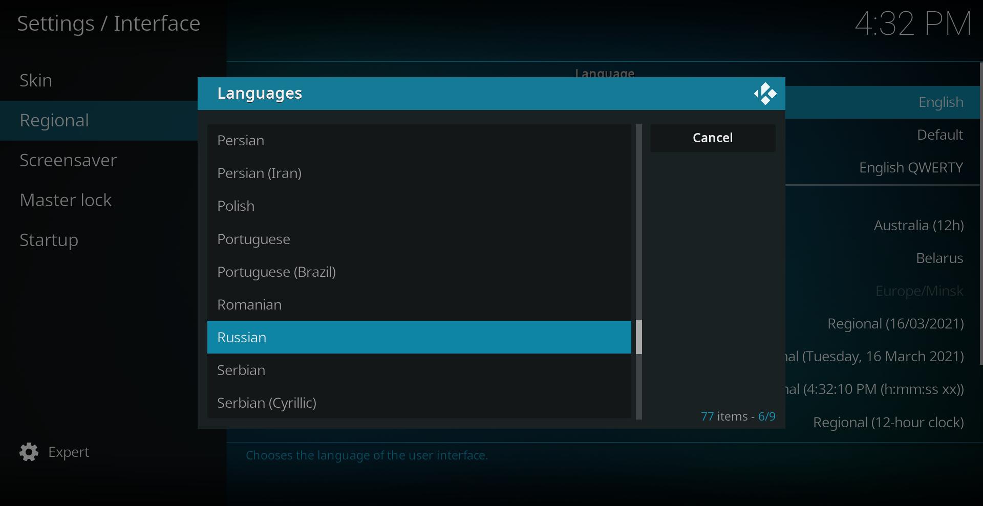 Settings/Interface/Regional/Russian