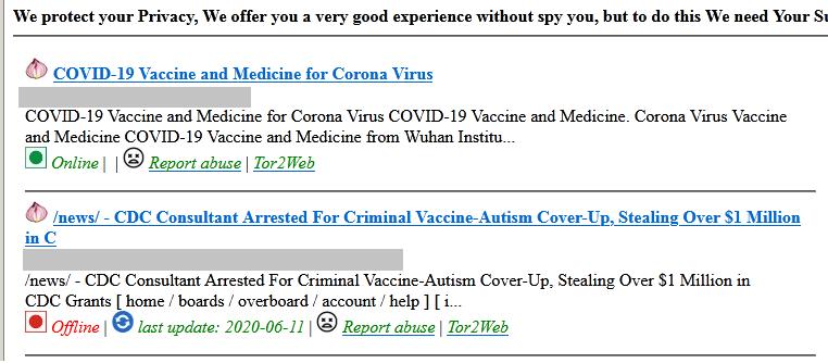 Обсуждение вакцины от коронавируса на одном из сайтов Даркнета