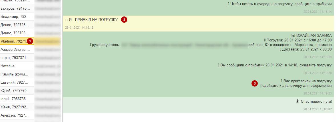 Автоматическое приглашение водителей на погрузку в чат-боте Telegram