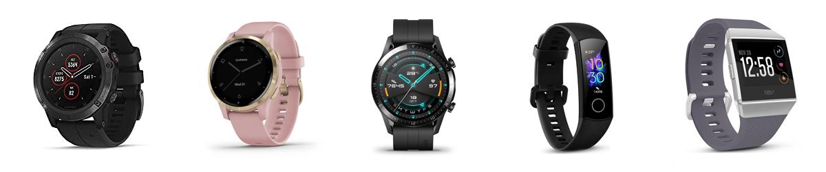 Слева направо: Garmin Fenix5, Garmin Vivoactive4s, Huawei Watch GT2, Honor Band5, Fitbit Ionic
