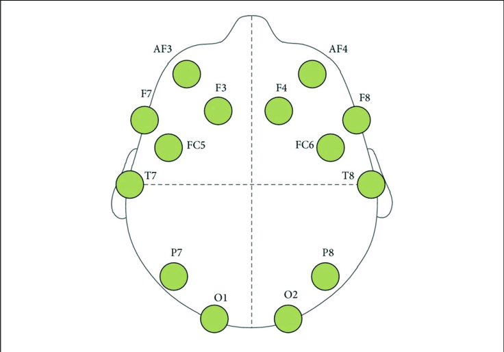 Схема расположения электродов Emotiv Epoc+