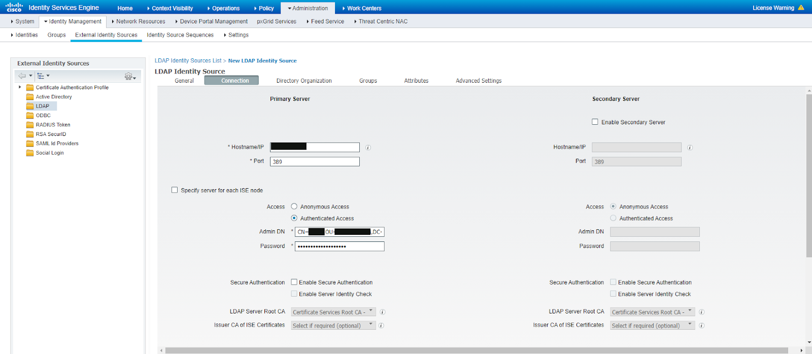 Рисунок 6. Ввод данных LDAP сервера