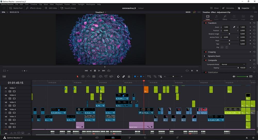 DaVinci Resolve. Вот, как выглядит четвёртая версия ролика. Проект мы закончили на шестой.