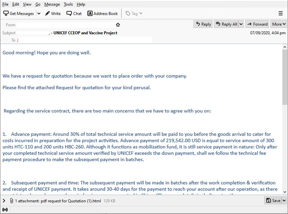 Фишинговое письмо с «коммерческим предложением» оборудования для транспортировки вакцин