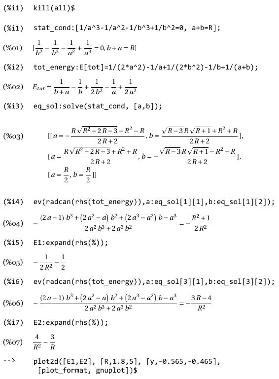 Сессия MAXIMA решения системы уравнений.