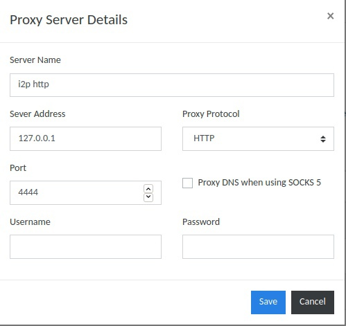 Добавляем входной шлюз I2P в список proxy-серверов