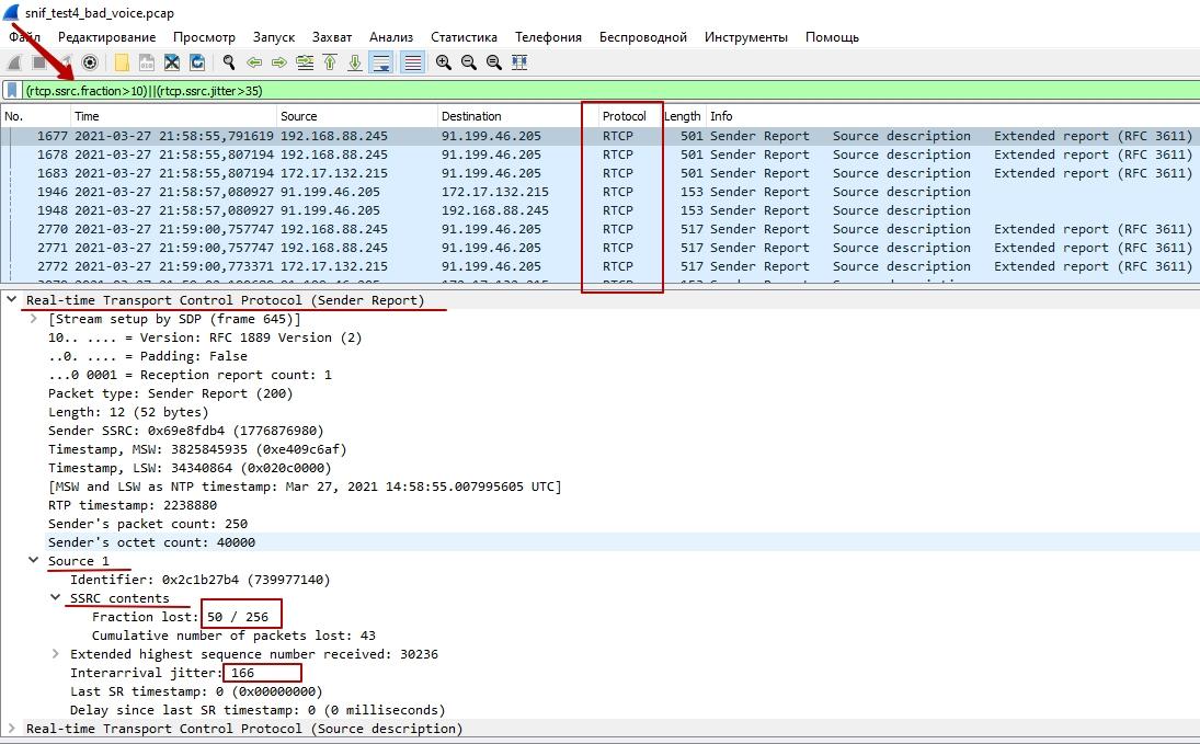 Анализ RTCP по звонку