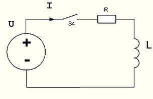 рис 17. Подключение катушки индуктивности к генератору напряжения с учетом внутреннего сопротивления.