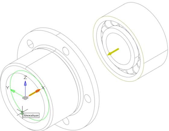 Рис. 13. Выбор окружности стакана для создания 3D-зависимости Вставка