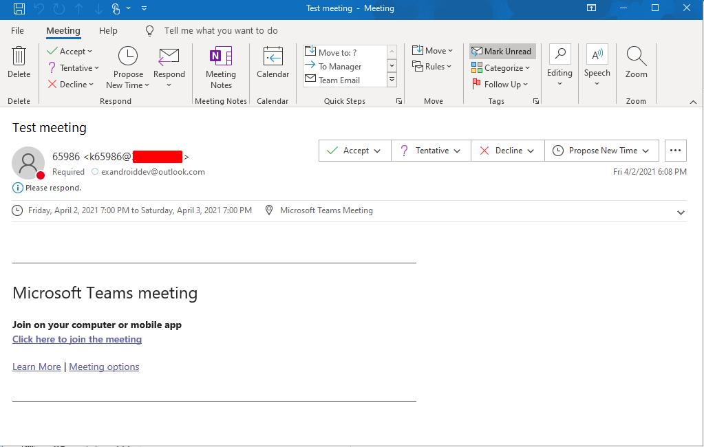 Так выглядит приглашение на встречу