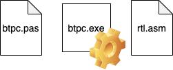 Содержимое проекта: 2 файла с исходниками (btpc.pas на Pascal и rtl.asm на ассемблере) и 1 бинарник