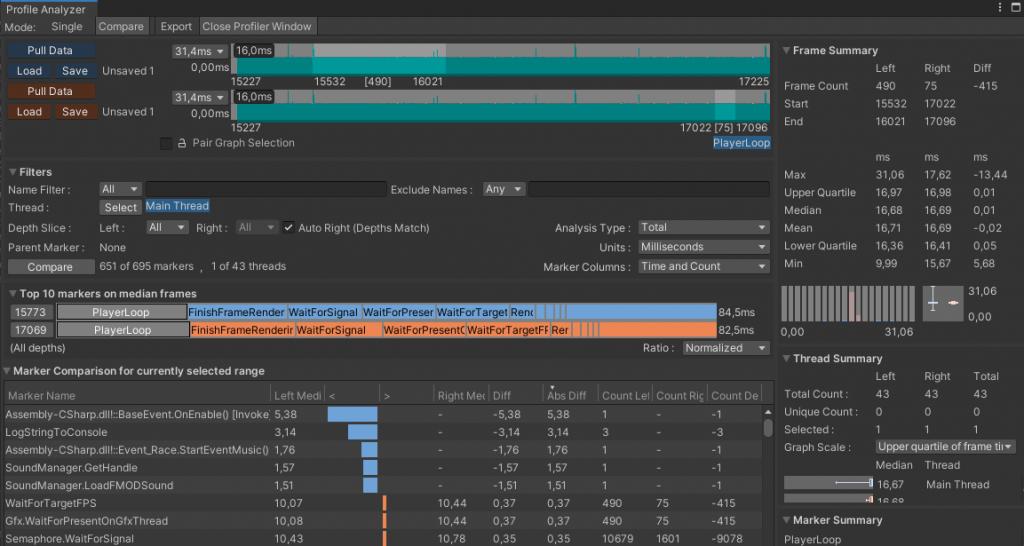 Window > Analyse > Profile Analyzer