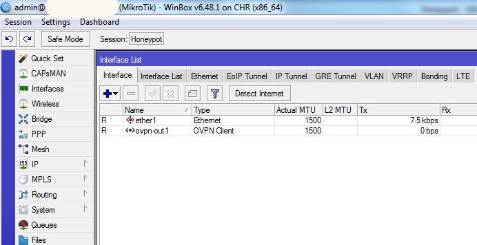 Управление  по средством графического интерфейса VDS с установленным RouterOS