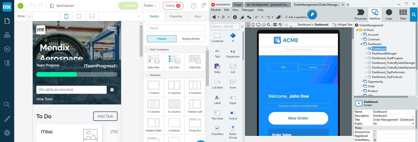 Mendix и OutSystems - студия для создания приложений