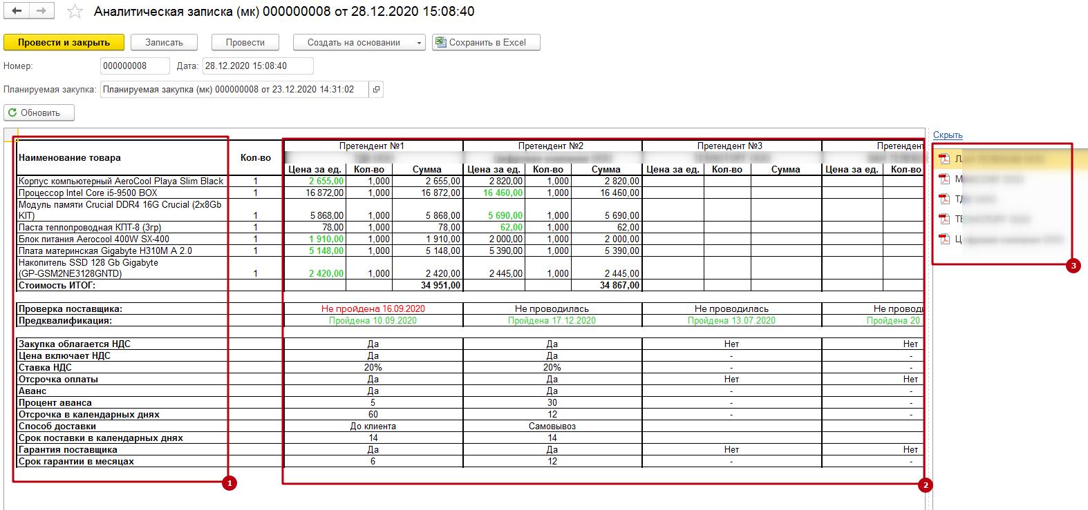 Аналитическая записка, сформированная роботом в ERP