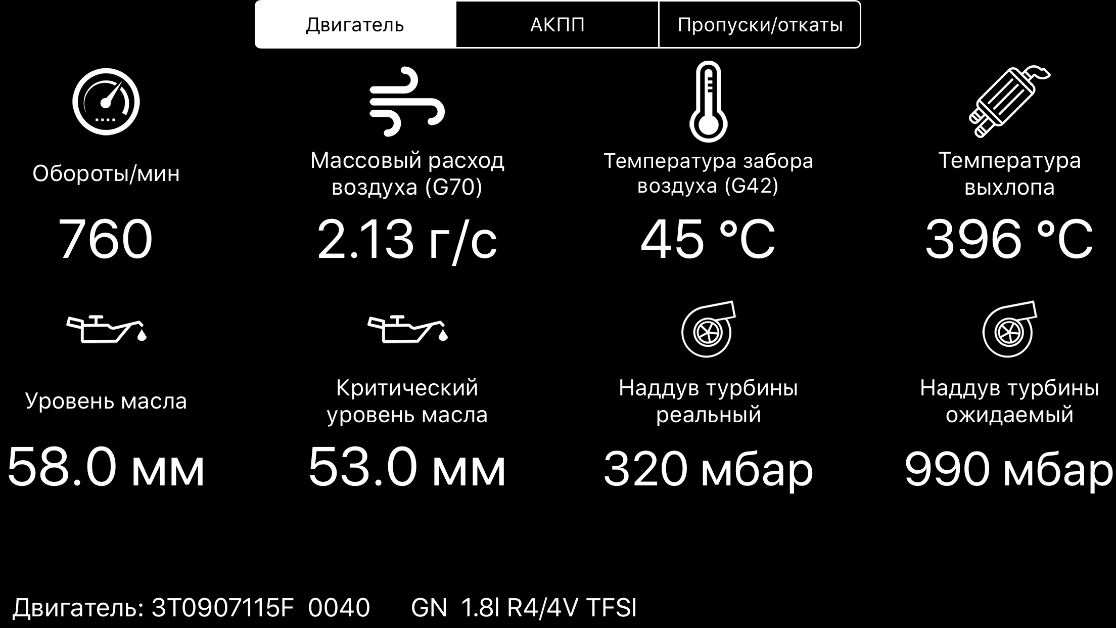 VAG Virtual Cockpit - экран с данными от двигателя по протоколу VW TP 2.0