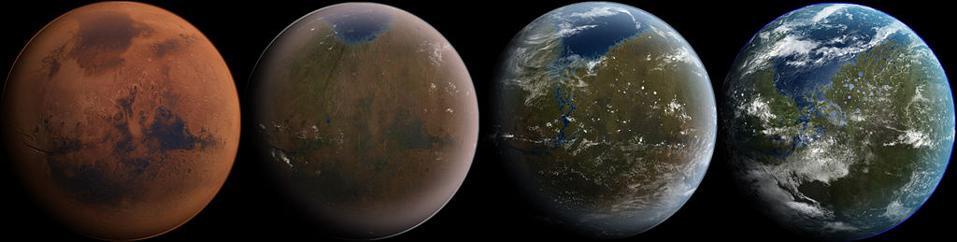 На этой иллюстрации с четырьмя разделами показан возможный путь терраформирования Марса. Однако в прошлом, по всей видимости, произошёл обратный процесс: некогда полный воды и, возможно, богатый жизнью Марс потерял свое защитное магнитное поле, и это привело к разрушению его атмосферы. Сегодня сложно представить, чтобы на марсианской поверхности сохранилась вода в жидком состоянии
