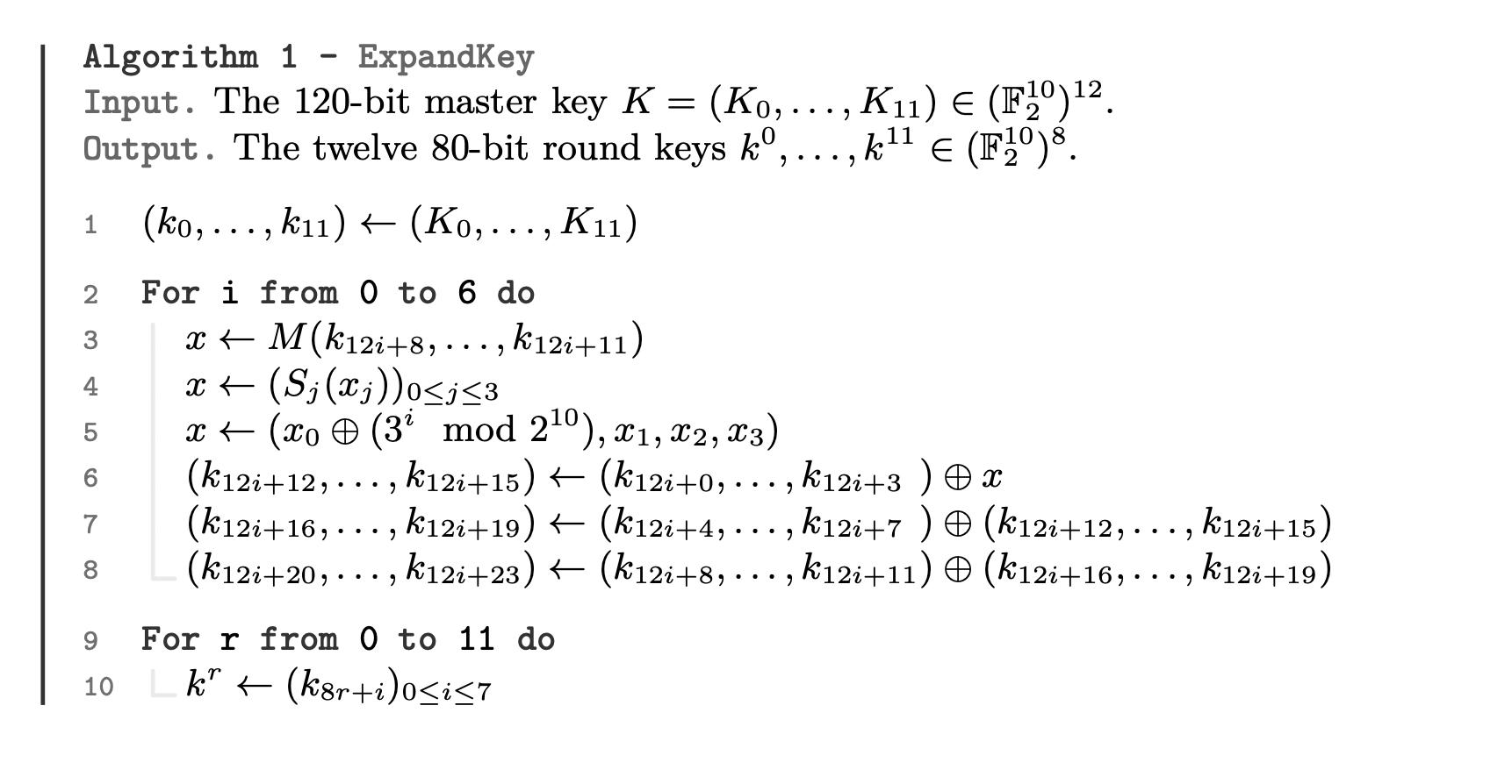 Алгоритм генерации раундов ключей на базе мастер ключа