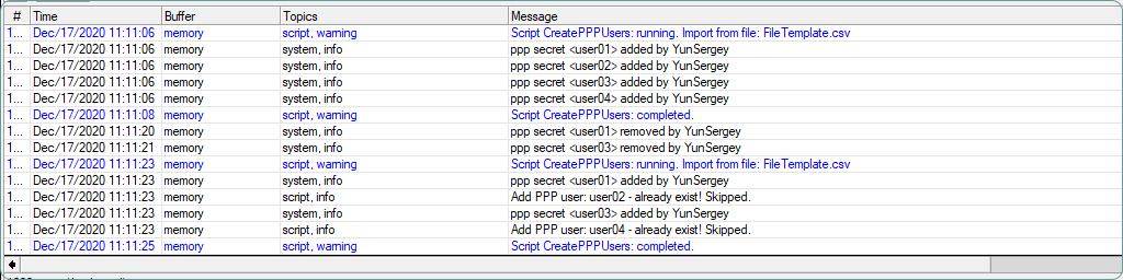 MikroTik Скрипт Массовое создание VPN (PPP) пользователей, из csv файла