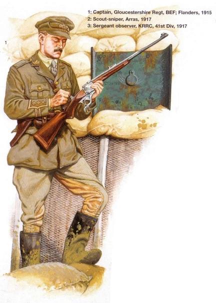 Британский контрснайпер (капитан Глостерширского полка), вооружённый крупнокалиберной охотничьей винтовкой — хотя в данном случае это не W. J. Jeffery .600 Nitro Express, а чуть более скромная, но всё равно очень мощная .450 Jeffery-Farquharson. Фландрия, 1915 год (фрагмент иллюстрации Рамиро Бухейро из кн. Мартина Пеглера The military sniper since 1914, изд. Osprey, 2001)