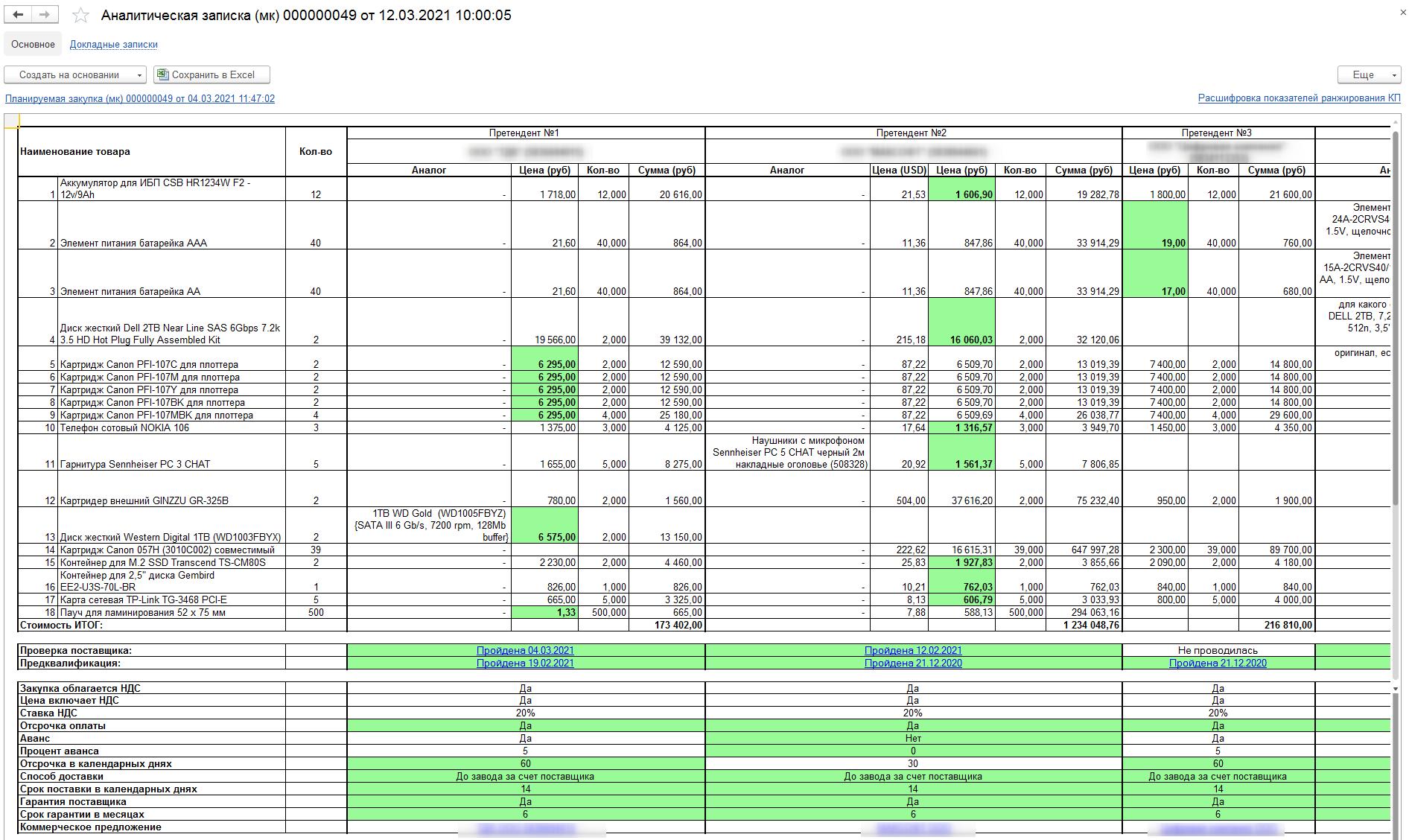 Аналитическая записка c оценкой предложений, автоматически сформированная в ERP