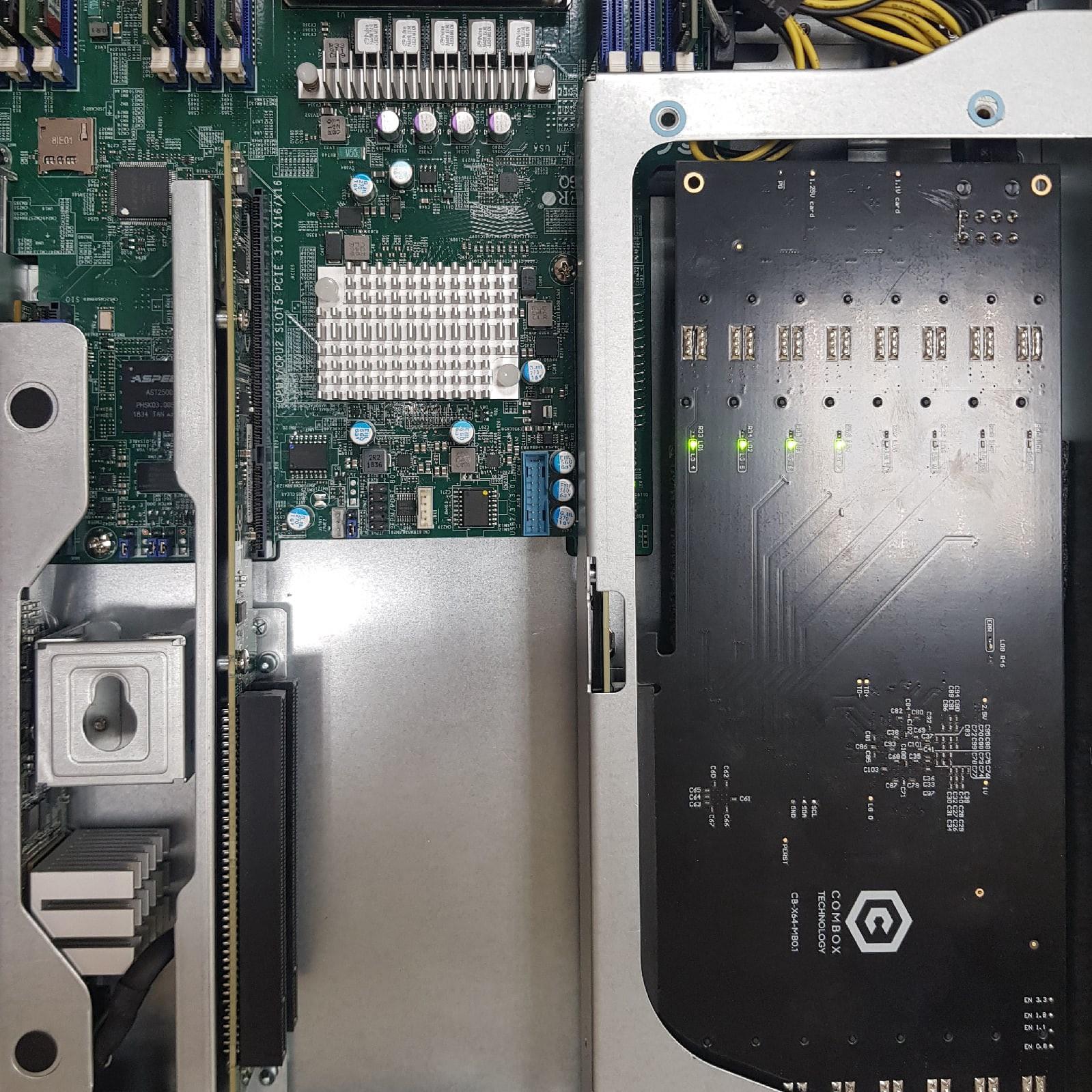 Supermicro SYS-1029TRT с установленной платой ComBox x64 Movidius Blade Board