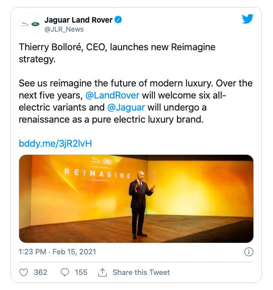 Публикация СЕО Jaguar Land Rover в Твиттере