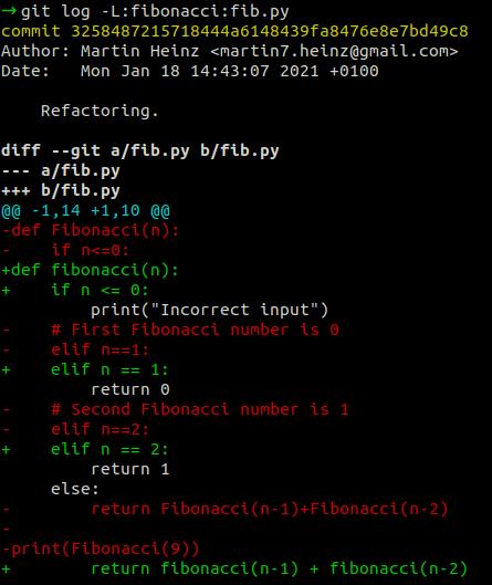 git log для функции.