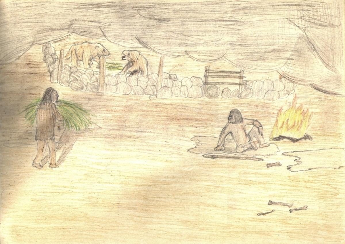 Гигантские ленивцы и древние люди. Рисунок Станислава Дробышевского