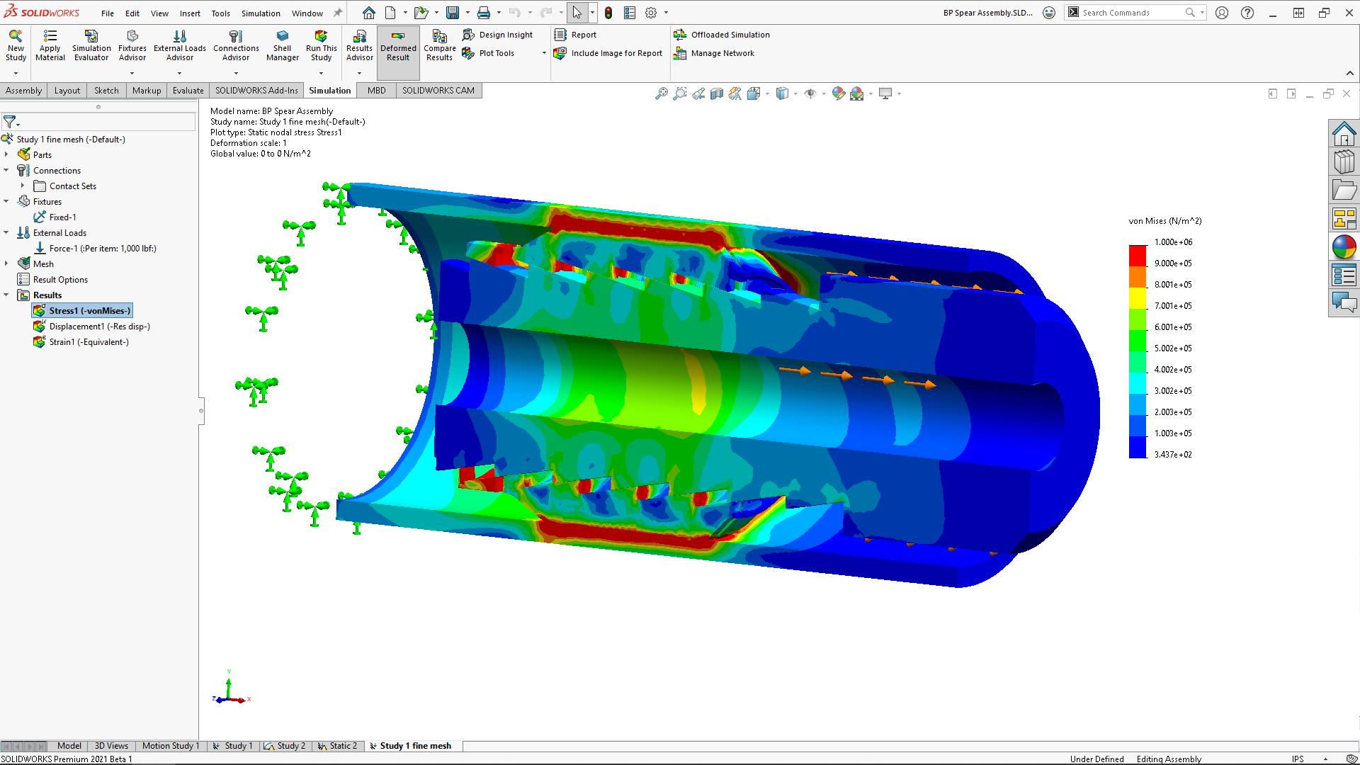 SOLIDWORKS Simulation 2021 быстрое, стабильное и точное моделирование контактов