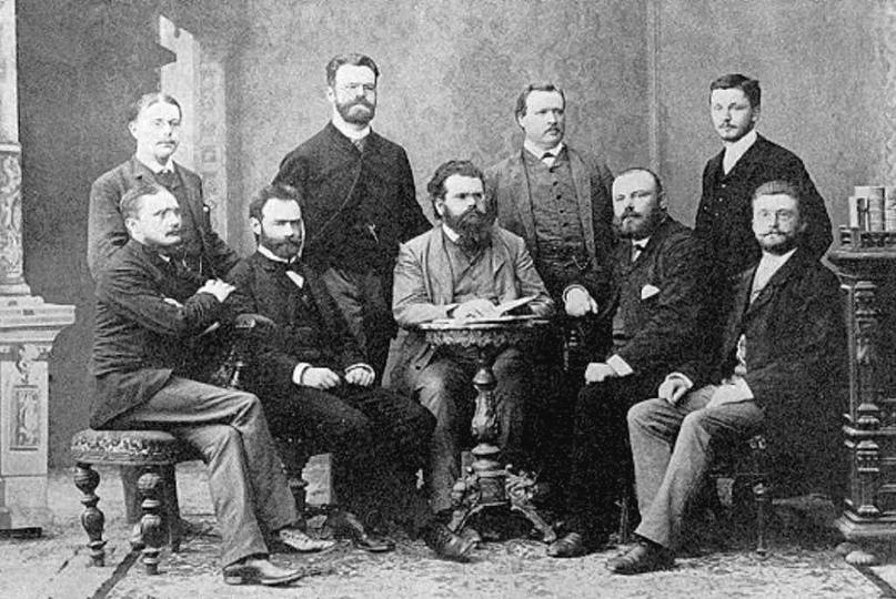 Группа Людвига Больцмана в 1887 году, Аррениус стоит, третий слева. Первым слева стоит Вальтер Нернст