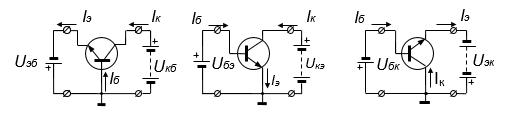 Рис. 3.2. Схемы включения транзистора слева направо: схема с ОБ, ОЭ  и ОК.