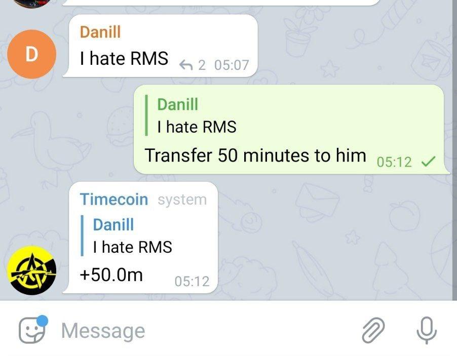 Чтобы перевести время другому пользователю указажите в ответе сколько времени нужно передать.