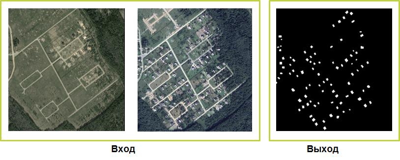 Пример обработки данных дистанционного зондирования, в результате которой выделены новые объекты (в данном случае — постройки)