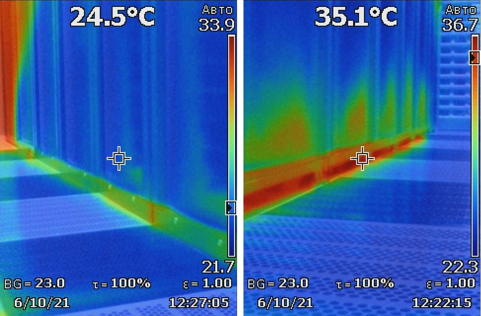 """Справа теплый воздух проник в """"холодный"""" коридор, в нижних юнитах видим повышение температуры на входе воборудование."""