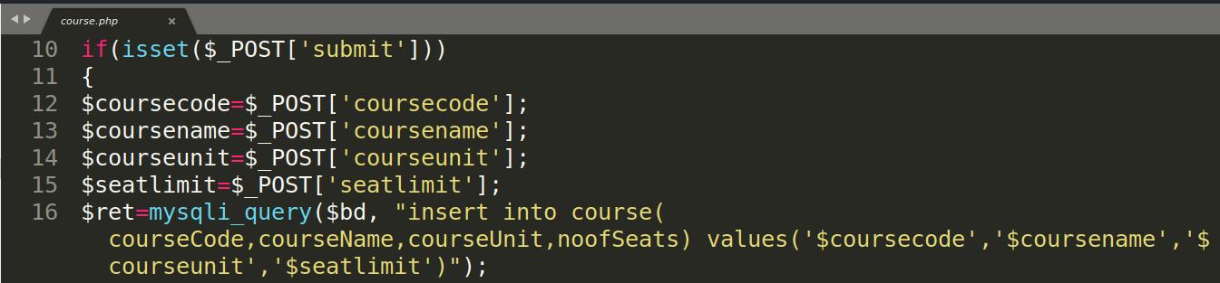 Участок кода из course.php