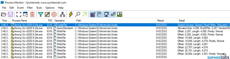 Поддельный исполняемый файл вредоносного ПО меняет файл hosts
