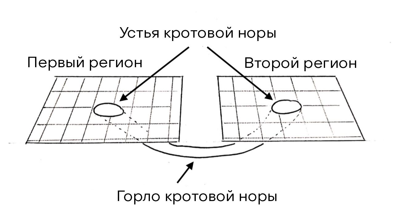 Рис.1: Если представить наше трехмерное пространство в виде двухмерной поверхности, то червоточина может быть представлена в виде цилиндрической поверхности, соединяющей две области в одной вселенной или двух разных вселенных. Входы в червоточину называются ее устьями, они соединяются горлом.