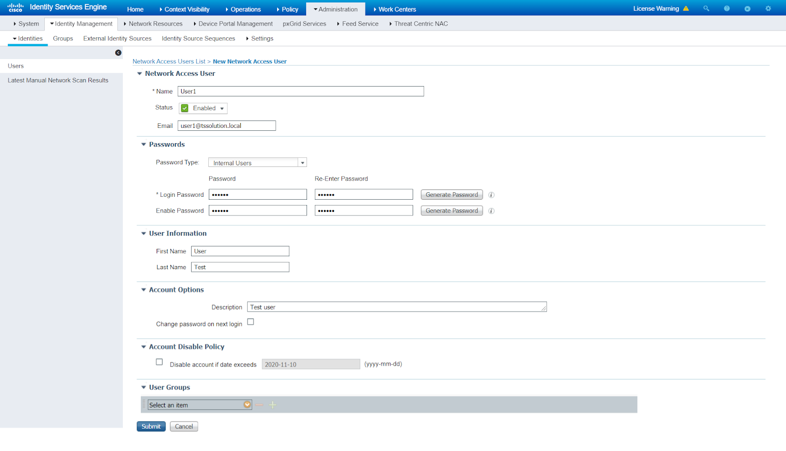Рисунок 2. Создание локального пользователя в Cisco ISE