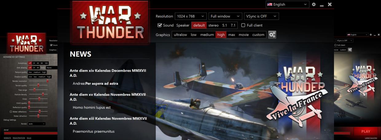 Реальный пример реализации интерфейса на движке Scitter - лаунчер War Thunder.