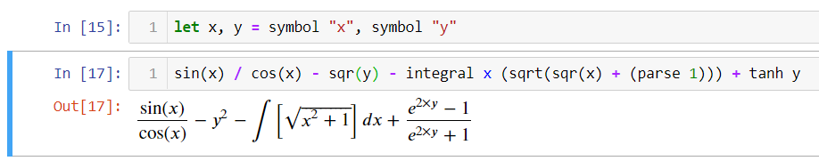 A simple example of using AngouriMath.Interactive in Jupyter